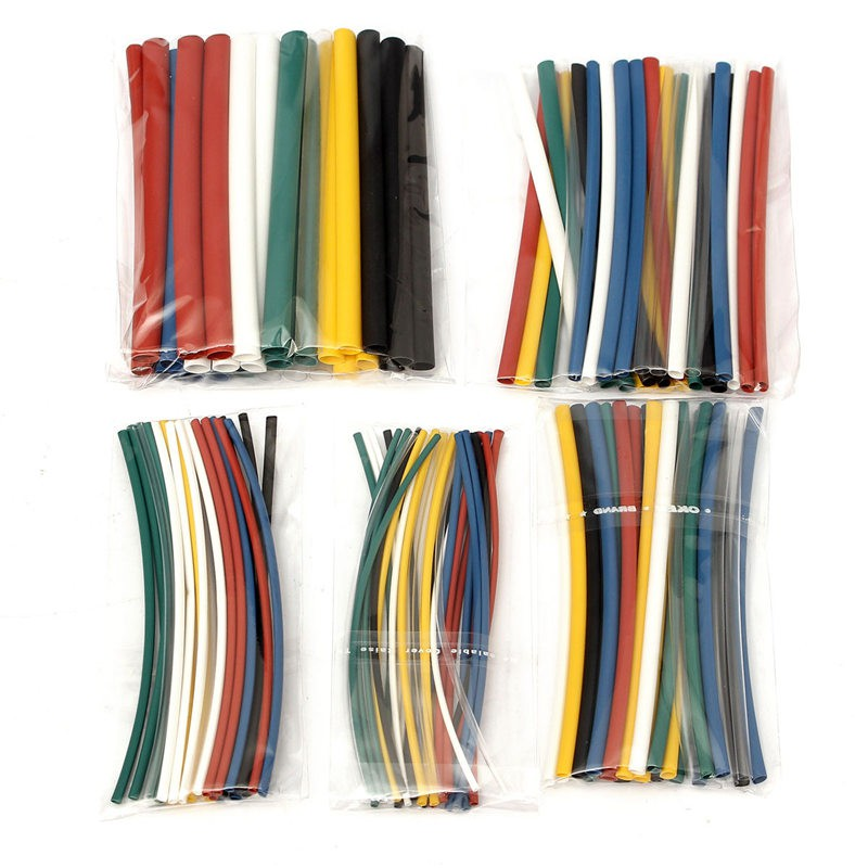 140Pcs Electrical Cable Heat Shrink Tube Insulation Tubing For Wrap Sleeve Assorted 5 Sizes 7 Colors Polyolefin Electric Unit