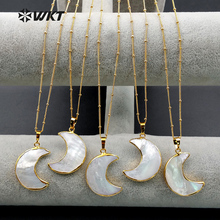 WT N1024 WKT Wholesale Custom Natural Shell Crescent Moon White Pendant Necklace With Gold Stalite Beads 18 inch moon necklace
