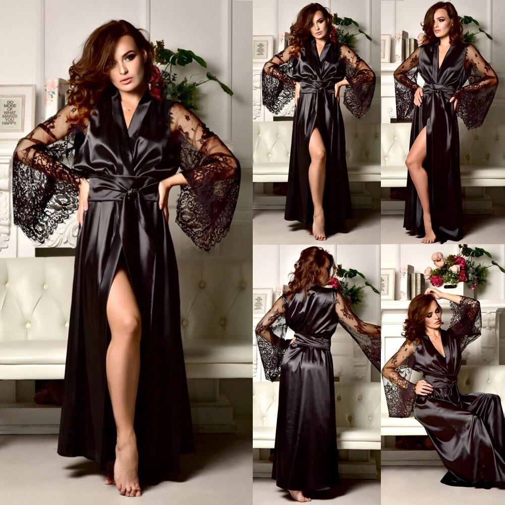 4 Colors Womens Solid Silk Satin Robe Sexy Lace Nightgown Pajamas Sleepwear Kimono Babydoll Dress XL