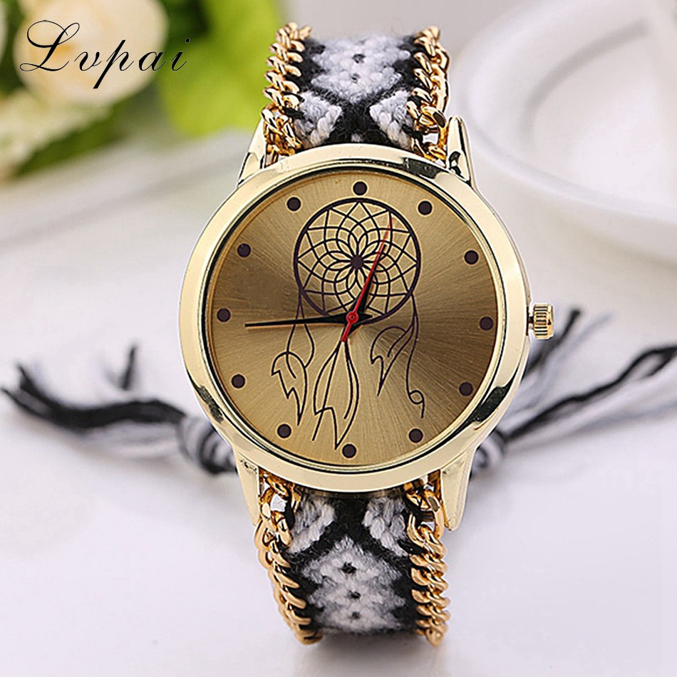 Lvpai Brand 2017 New Brand Women Fashion Luxury Watch Gold Ladies Quartz Wristwatch Handmade Braided Chinese Style Quartz Watch