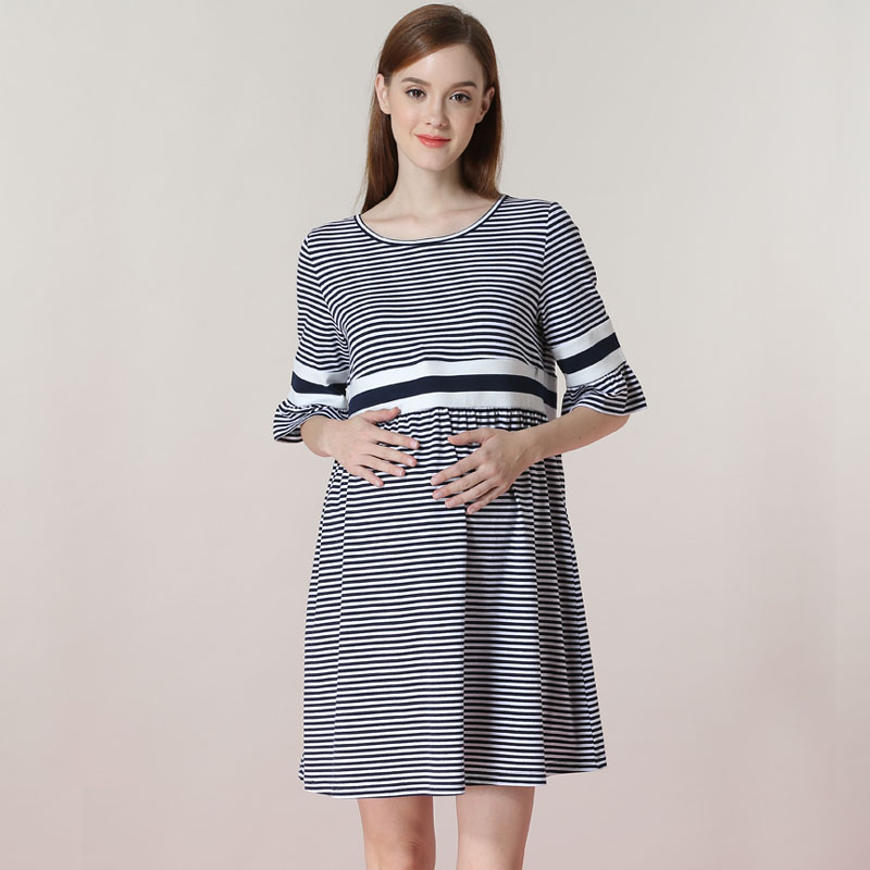 3701559e66194 Pagoda Sleeve Nursing Dress Maternity Clothes For Pregnant Women Striped Breastfeeding  Dress Pregnancy Lactation Vestidos-in Dresses from Mother & Kids on ...