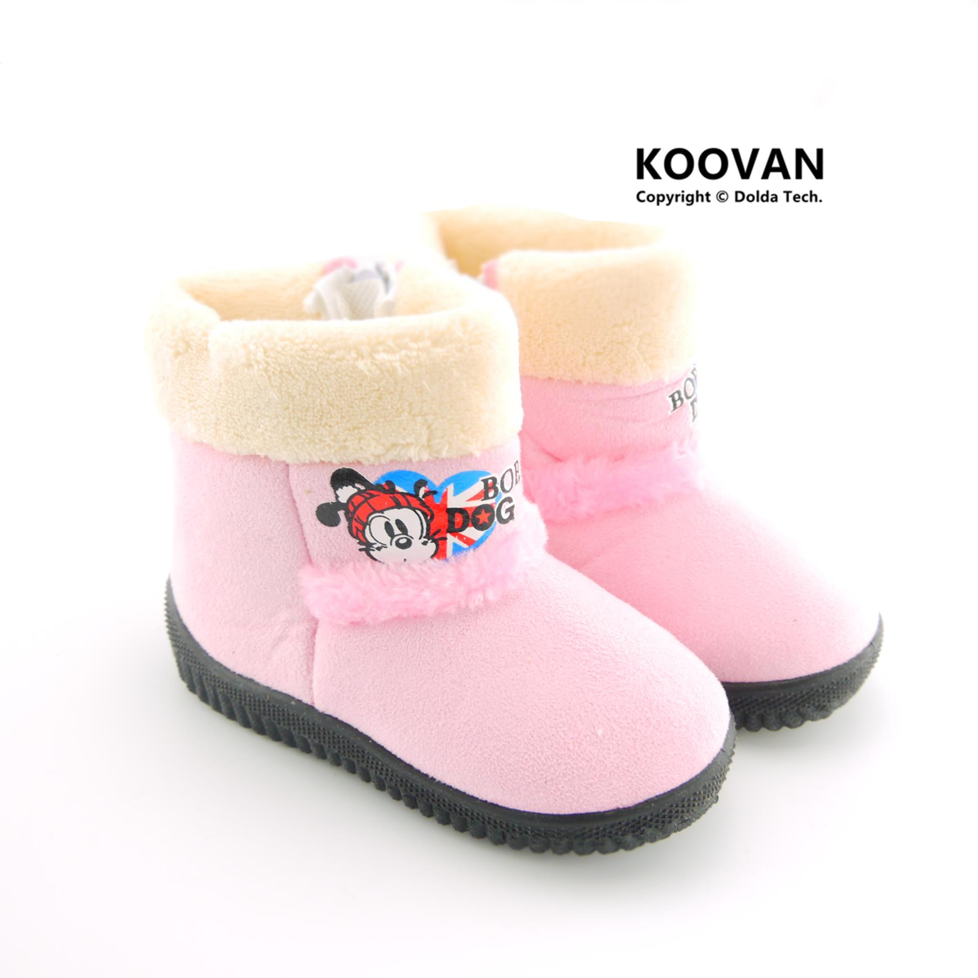 Koovan 2019 Warm Winter Children Boots Dog Cartoon Girls Snow Boot Boys Kids Rubber Boots Children Shoes Toddler  KX5134