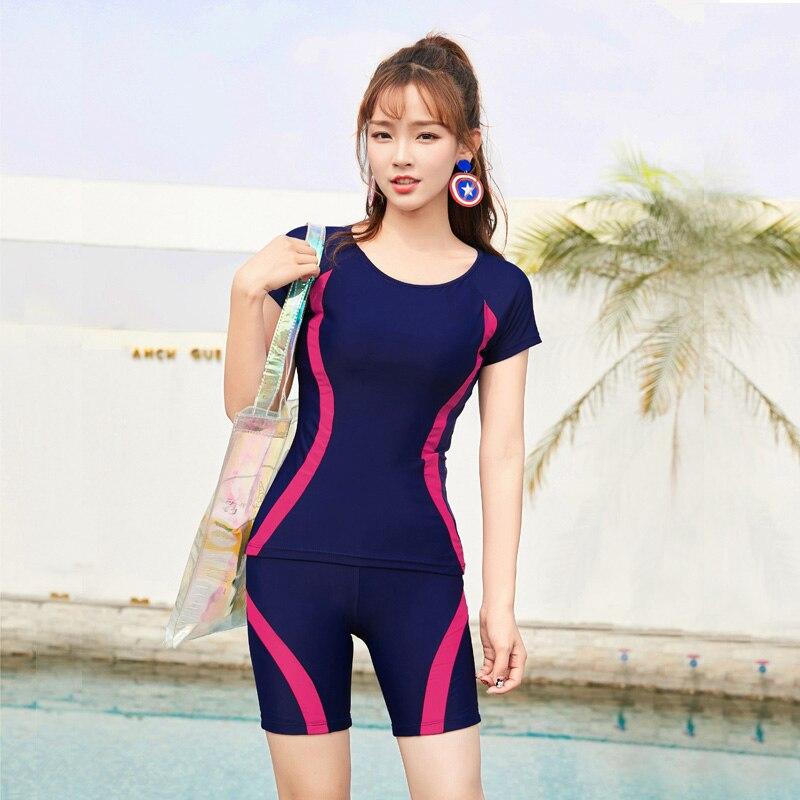 M-4XL Lady Short Sleeve Swimwear Women Plus Size Two-Piece Swimsuit Separated Beach Tankini Navy Blue Bathing Suit Great Stretch
