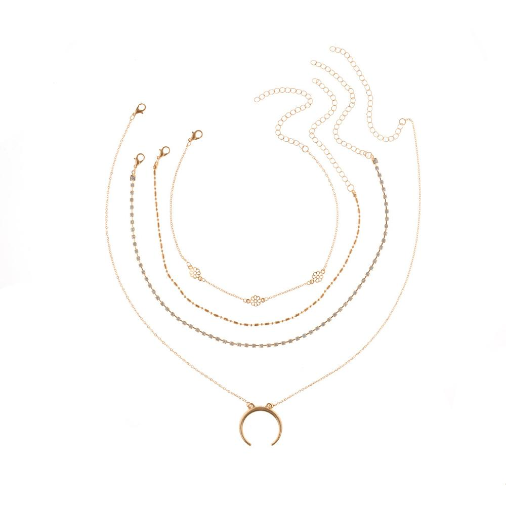 Gold Color Cross Rose Pendants Neckalces For Women Girls Multi Layer Flower Choker Necklace Long Beaded Chain Moon Chokers in Pendant Necklaces from Jewelry Accessories