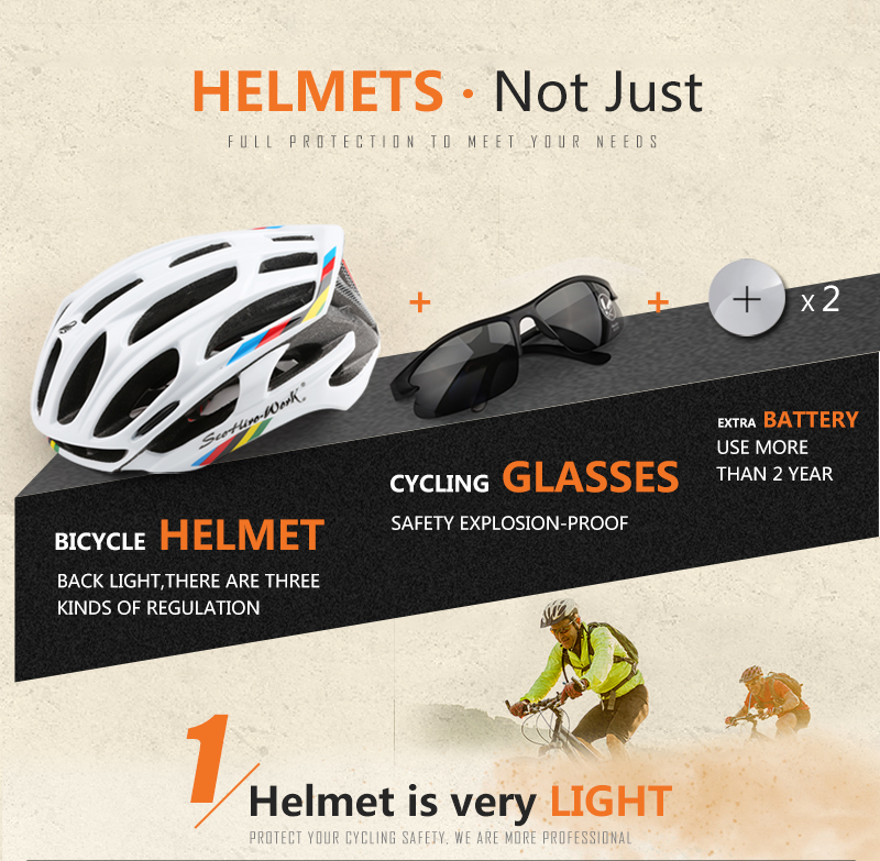 Ultralight helmet Intergrally-molded Women Men Cycling Helmet Bicycle Helmet MTB Bike Outdoor Sports Mountain Road MTB Bicycle Casco Ciclismo Capacete With LED Warning Lights (2)