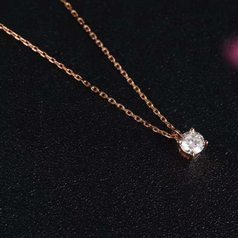 Aazuo 18k Rose Gold Simple Four Claw Diamond Free Pendent Necklace Gifted For Women Girls Engagement Wedding Link Chain Aliexpress