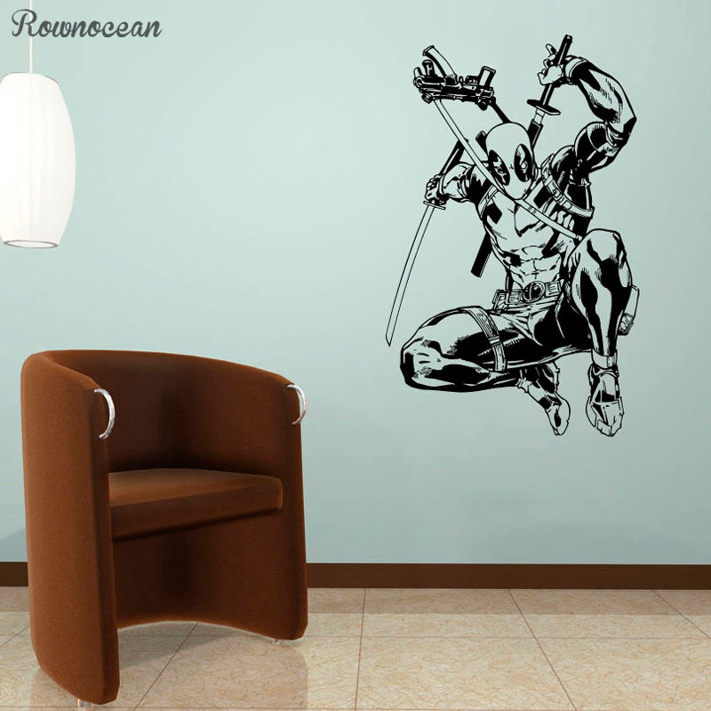 Deadpool Vinyl Sticker Comics Superhero Wall Art Animated Poster Boys Room Decals Interior Print Decorations Murals Gift SP23 in Wall Stickers from Home Garden