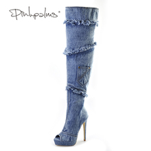 Pink Palms women summer shoes blue denim high heels over knee high boots peep toe denim fringe tassel boots sandals