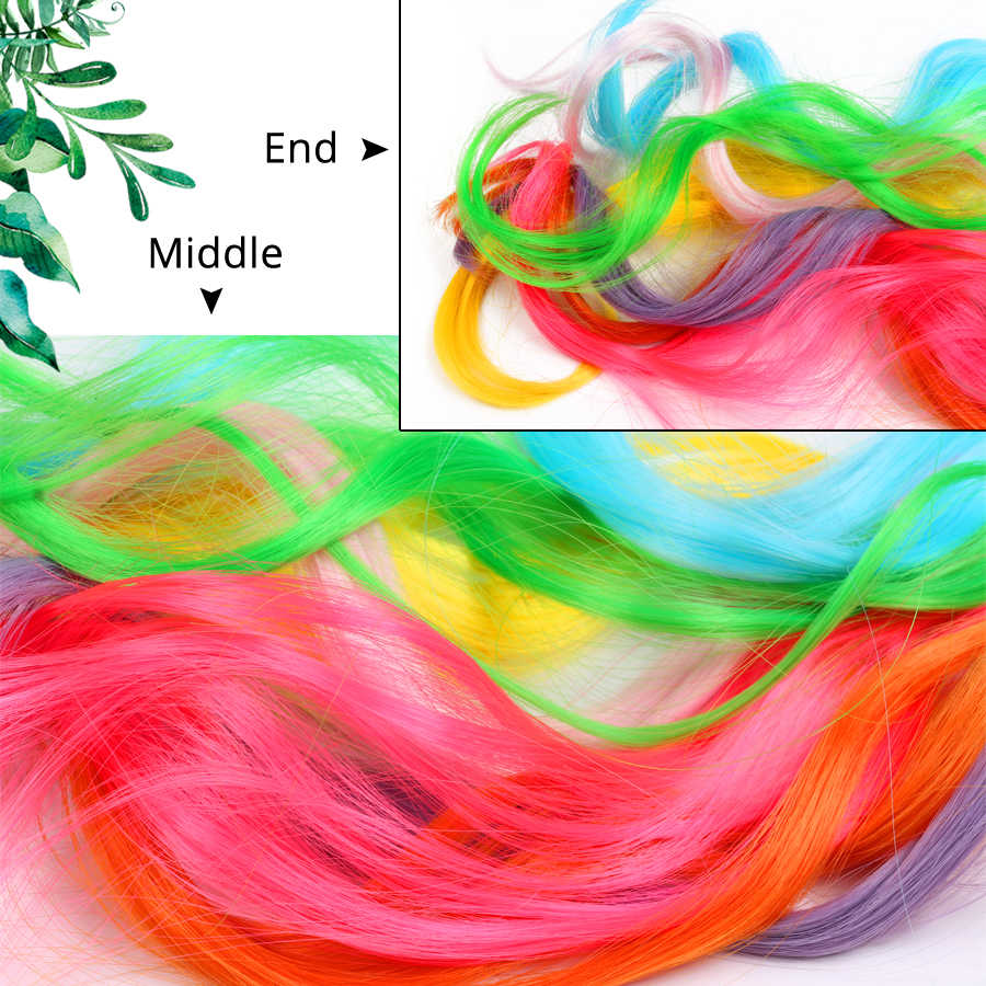Alileader 20 дюймов длинные волнистые натуральные накладные волосы на заколках фиолетовые, розовые, красные, синие синтетические накладные волосы