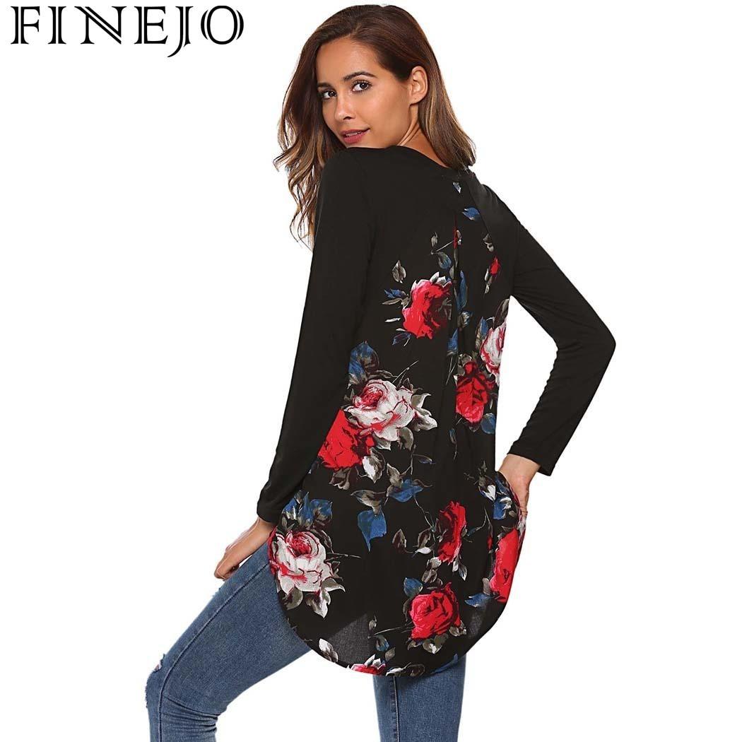 FINEJO T-Shirts Femmes imprimé floral T-shirt Mode Casual O-cou À Manches Longues t-shirt Patchwork Asymétrique Tops T-shirts