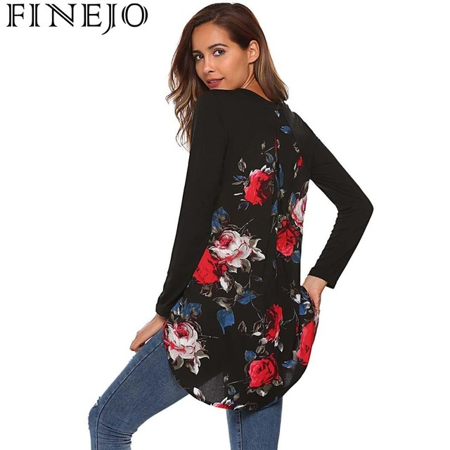 6f256fbf10 US $25.93 |FINEJO T Shirts Women Floral print T Shirt Fashion Casual O Neck  Long Sleeve tshirt Patchwork Asymmetrical Tops Tees-in T-Shirts from ...