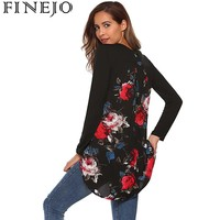FINEJO T Shirt Women Fashion Casual O Neck Long Sleeve Floral Patchwork Asymmetrical T Shirt Top
