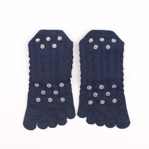 Image 3 - Veridical 5 Pairs/Lot Cotton Socks With Toes Women Girl Solid Lace Five Fingers Socks Harajuku Sox Snowflakes Silicone Non slip