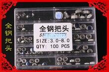 Envío Gratis 100 unids Acero Inoxidable Relojes Coronas Diferentes Tamaños 3.0-8.0mm para la Reparación Del Reloj