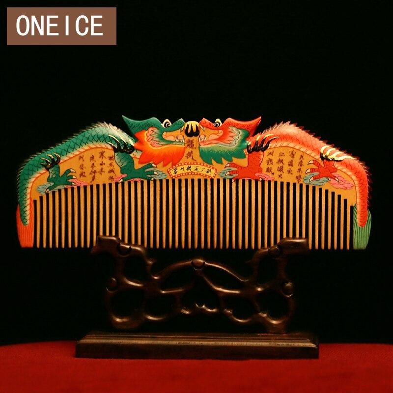 ONEICE Changzhou гребень Buxus Huang Тополь роспись Цвет Двусторонняя резьба Ssangyong Свадебные украшения