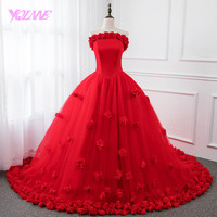 YQLNNE Red Flowers Vestidos 2018 Quinceanera Dresses Ball Gown Lace up Sweet 16 Dress Vestido De 15 Anos with free petticoat