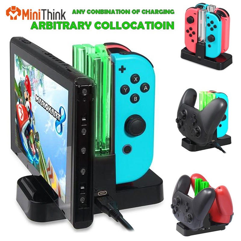 4in1 for NS Nintend Switch Joy-Con & Pro Controller with Dual LED Light Indicator Gamepad Charging Dock Stand Station Charger