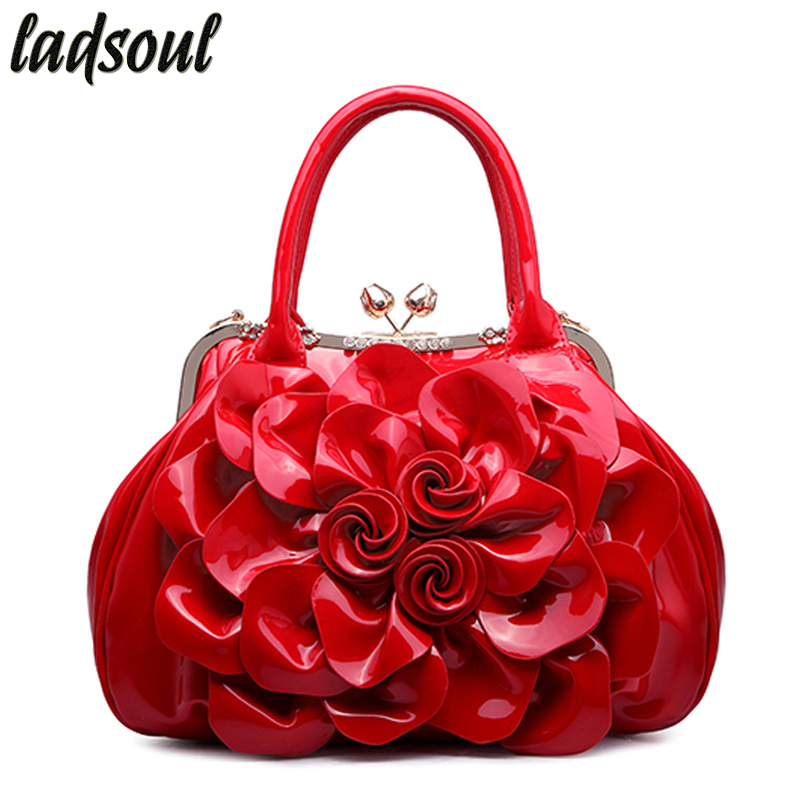 LADSOUL Floral Patent Leather Women Handbags Good Quality Luxury Women Bag Tote Bag Big Flower Casual