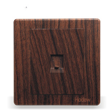 Wall Switch Socket Panel 86 Type Concealed Wood Grain Color Single Telephone Line Socket, PC 220V 10