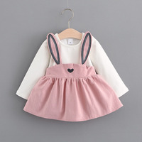 New Fashion Style Baby Clothes Spring Autumn Cute Cartoon Long Sleeves Strap Dress Baby Girls Clothes