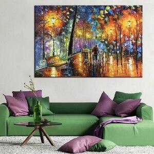 Image 3 - Большая Ручная роспись влюбленный дождь уличный светильник нож пейзаж масляная живопись на холсте настенное искусство для гостиной домашний Декор картина