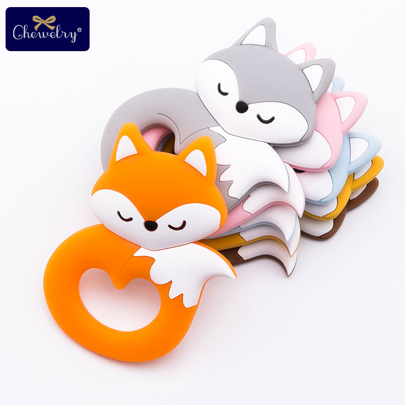 10Pcs Fox Baby Silicone Teether BPA Free Baby Teething Toy Rodent Silicone Beads Necklace Pendant Accessories