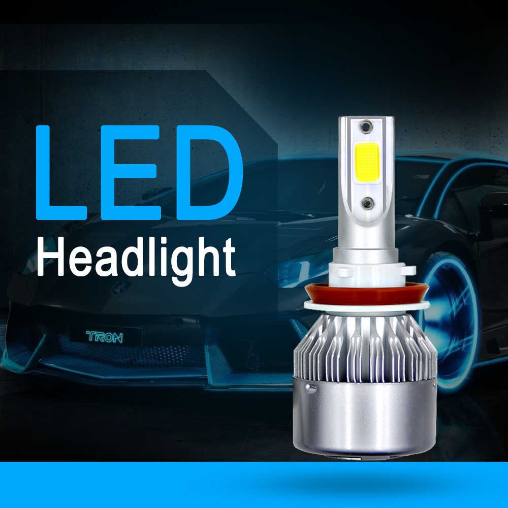 2X C6 LED Car Headlights 200W 20000LM 9004 6000K Car Fog Bulb H13 H7 H11 H4 H3 9007 9006 9005 9004 880 H1 Automobiles Headlamp