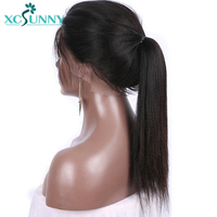 xcsunny Yaki Straight 5*4.5 Glueless Silk Base Full Lace Human Hair Wigs Brazilian Remy Hair With Pre Plucked Natural Hairline