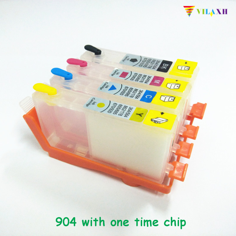 vilaxh <font><b>903</b></font> <font><b>Refillable</b></font> Ink Cartridge Replacement For <font><b>HP</b></font> <font><b>903</b></font> xl 903xl OfficeJet Pro 6960 6961 6964 6970 6950 With one time chip image