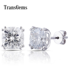 Transgems 14K 585 White Gold 4CTW 7.5mm GH Near Colorless Sqaure Cushion Cut Moissanite Stud Earring Push Back for Women