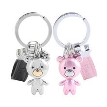 MILESI Charming Metal Cloth Bear Lovers Decorative Keychain Valentine's Gift Creative Gift k0208