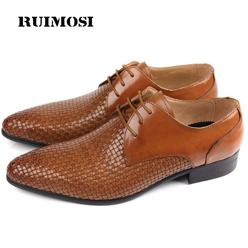 RUIMOSI Handmade Formal Man Dress Shoes Genuine Leather Cow Designer Oxfords Luxury Brand Men's Bridal Wedding Footwear FG11