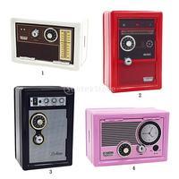 Vintage Radio Design Piggy Bank Safe Money Coin Saving Box Case Gift 4 Colors