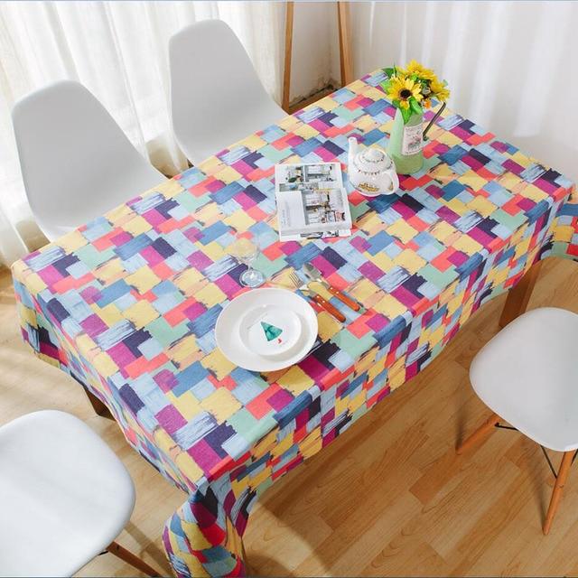 カラフルなチェック柄プリントテーブルクロス綿ダイニングテーブルカバー厚い綿防塵結婚式パーティーキッチンホームテキスタイル