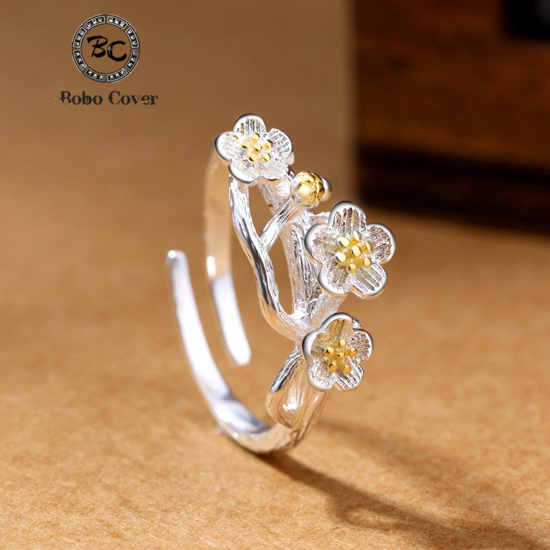 Adjustable Silver Plated Rings Opening Finger Plum Blossom Branch