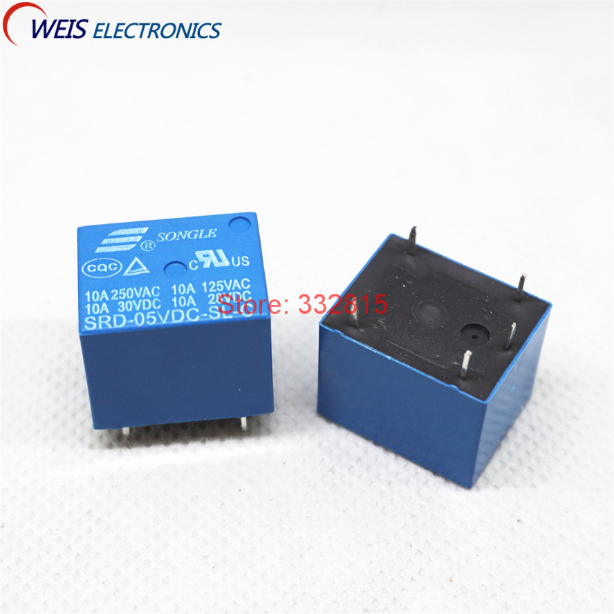 100PCS Power relay SRD 05VDC SL C SRD 05VDC T73 5V 10A DIP 5PIN SONGLE New original-in Relays from Home Improvement    1