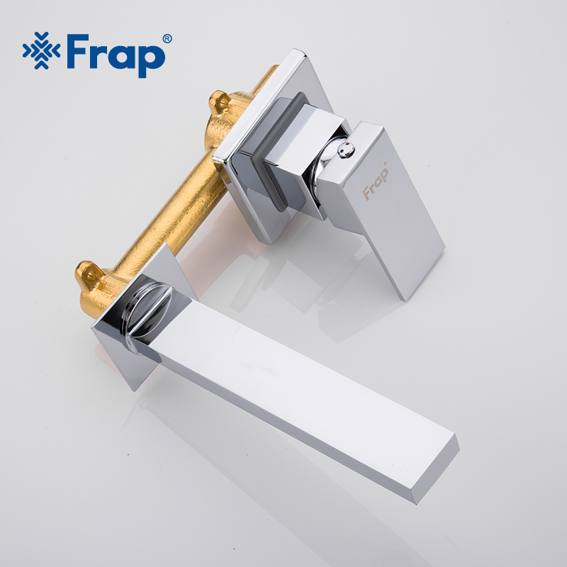 FRAP Single Handle brass Basin Faucets Wall Mounted Waterfall Sink Faucet Surface Chrome Finished Bathroom Mixer Tap Hidden Tap