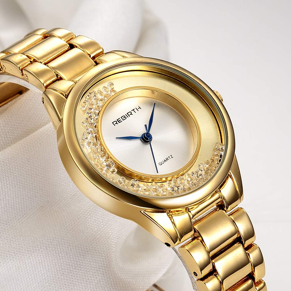 REBIRTH Brand Rose Gold Women Watches Steel Luxury Ladies Watch Creative Girl Quartz Wristwatch Clock montre femme reloj mujer kimio brand bracelet watches women reloj mujer luxury rose gold business casual ladies digital dial clock quartz wristwatch hot