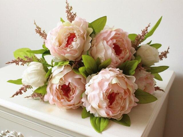 (7 главы/букет) 2016 New. Silk/Моделирование/Искусственный цветок Пион букет для свадьбы украшение дома