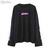 Qlychee Spring Women Harajuku BF Style Black Tee Top Flame Print T Shirt Big Long Sleeve