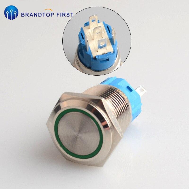 16 мм с фиксацией и само-моментальная Перезагрузка металлический кнопочный выключатель розетка - Цвет: Зеленый