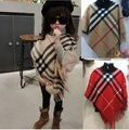 Kids Poncho Coat Toddler Baby Girls Imitation Wool Plaid Cape Shawl Winter Children's Tassel Coat For Party Outerwear Clothing