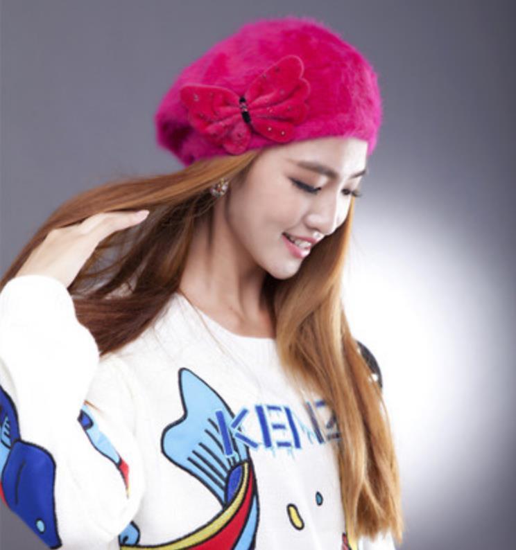 Hot Sales Cheap Real Rex Rabbit Fur Hats High Quality Knitted Rex Rabbit Fur Beanies Women Skullies