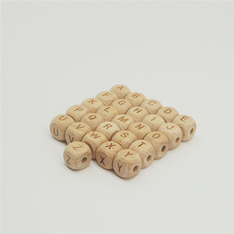 200pcs lot Laser Carving Letter Beech Wood Beads 10mm 12mm Loose Natural Wooden Beads For Jewelry