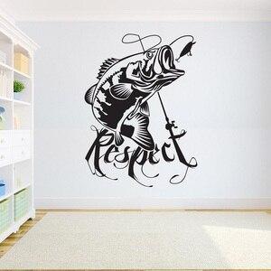 Image 1 - ديكور المنزل ملصق فينيل الصيد الجدار ملصق مائي غرفة الاطفال باس الأسماك ملصق الصيد لصائق الداخلية خلفية 2KN12
