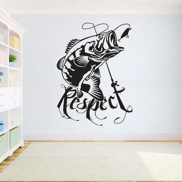 ديكور المنزل ملصق فينيل الصيد الجدار ملصق مائي غرفة الاطفال باس الأسماك ملصق الصيد لصائق الداخلية خلفية 2KN12
