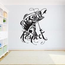 Decoração da casa adesivo de vinil decalque da parede de pesca quarto das crianças baixo peixe adesivo pesca decalque interior papel 2kn12