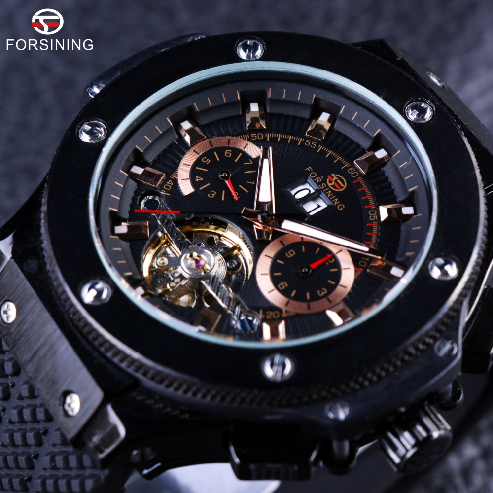 FORSINING Brand Luxury Male Sport Watches Men Chronograph Silicone Black Men Wrist Watch Cross Country Military Watch For Man boruit mini 800 lumen q5 led headlight 3 mode rechargeable zoomable headlamp white light for hunting fishing head torch lanterna