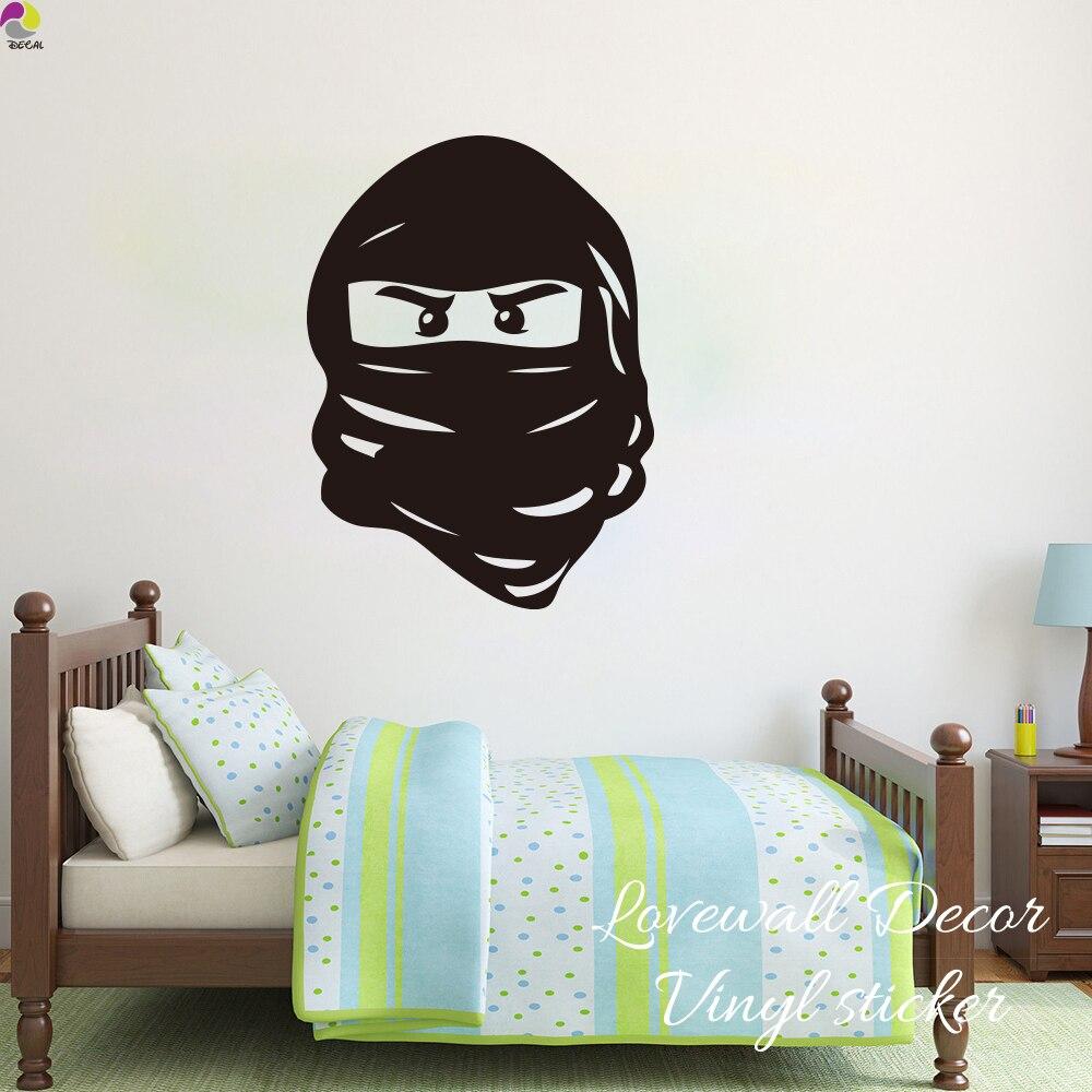 Cartoon Lego Ninjago Mask Wall Sticker Boy Room Baby Nursery Cute - Ninja turtle wall decals