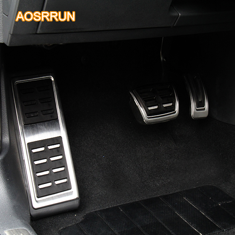 AOSRRUN Stainless Steel accelerator Pedal Footrest Brake Pedal Car Accessories For SEAT LEON MK3 2013-2016